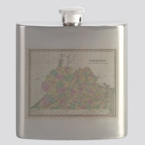 Vintage Map of Virginia (1827) Flask