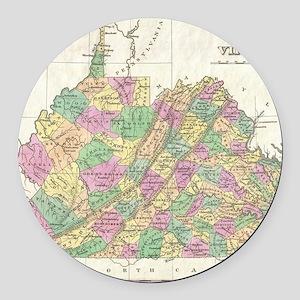 Vintage Map of Virginia (1827) Round Car Magnet