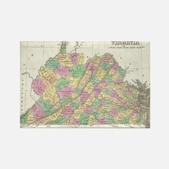 Vintage Map of Virginia (1827) Rectangle Magnet