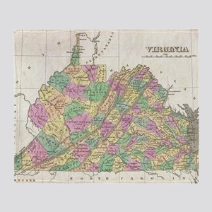 Vintage Map of Virginia (1827) Throw Blanket