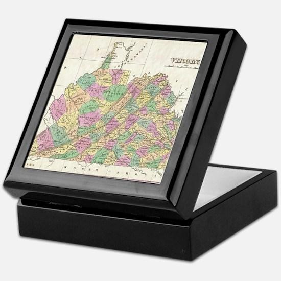 Vintage Map of Virginia (1827) Keepsake Box