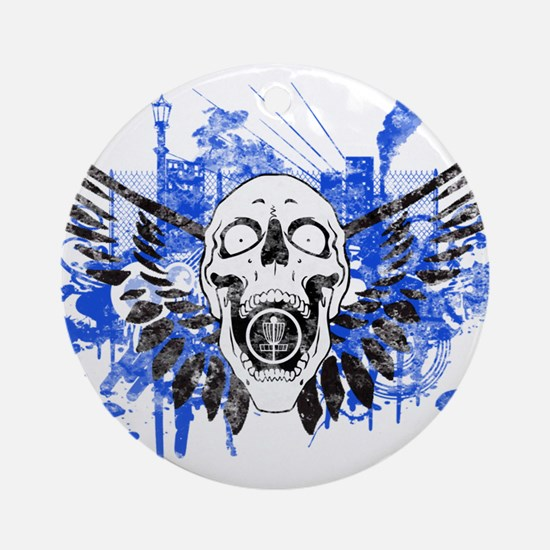 Flying Skull Distressed Ornament (Round)