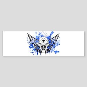 Flying Skull Distressed Bumper Sticker