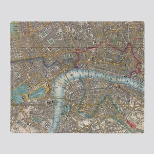Vintage Map of London (1848) Throw Blanket