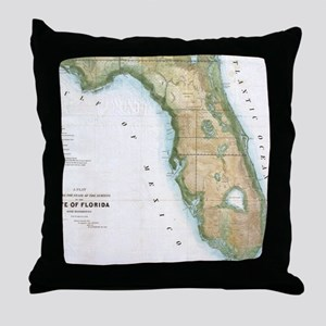 Vintage Map of Florida (1848) Throw Pillow