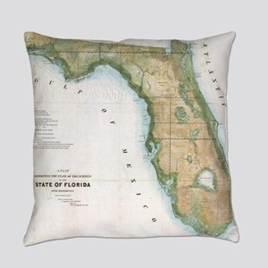 Vintage Map of Florida (1848) Everyday Pillow