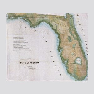 Vintage Map of Florida (1848) Throw Blanket