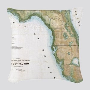 Vintage Map of Florida (1848) Woven Throw Pillow