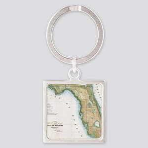 Vintage Map of Florida (1848) Square Keychain