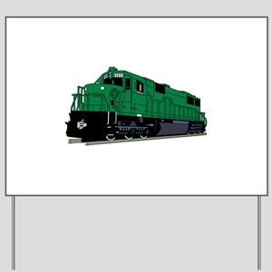 Train Engine Yard Sign