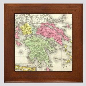 Vintage Map of Greece (1853) Framed Tile