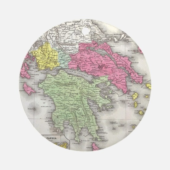 Vintage Map of Greece (1853) Round Ornament