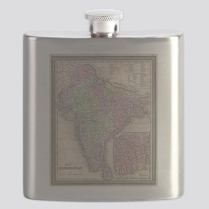 Vintage Map of India (1853) Flask