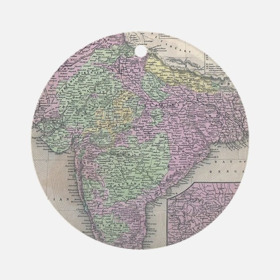 Vintage Map of India (1853) Round Ornament