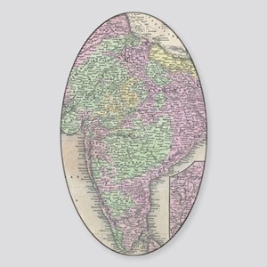 Vintage Map of India (1853) Sticker (Oval)