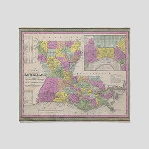 Vintage Map of Louisiana (1853) Throw Blanket