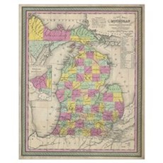 Vintage Map of Michigan (1853) Canvas Art