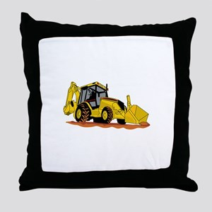Backhoe Loader Throw Pillow