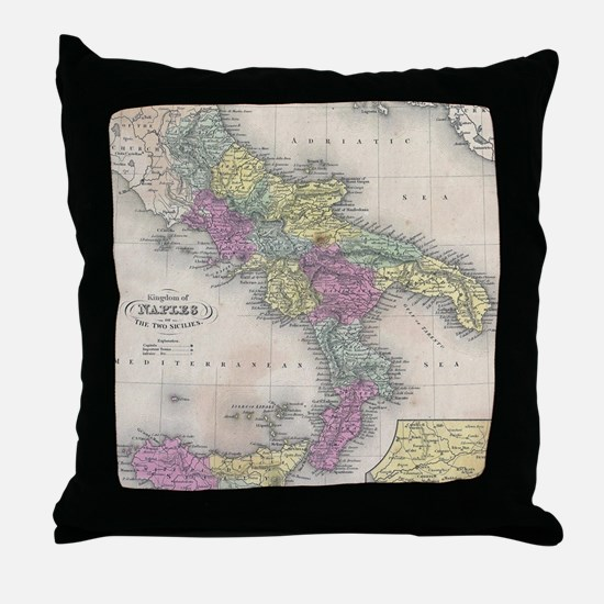 Vintage Map of Southern Italy (1853) Throw Pillow