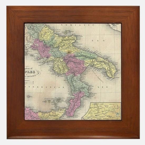 Vintage Map of Southern Italy (1853) Framed Tile