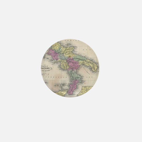 Vintage Map of Southern Italy (1853) Mini Button