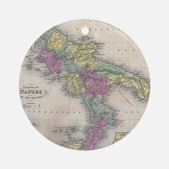 Vintage Map of Southern Italy (1853 Round Ornament