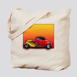 Red Hot Rod with Flames Tote Bag