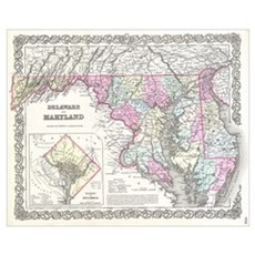 Vintage Map of Maryland (1855) Poster
