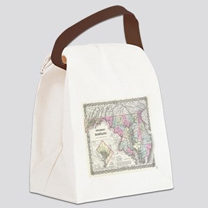 Vintage Map of Maryland (1855) Canvas Lunch Bag