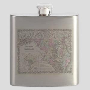 Vintage Map of Maryland (1855) Flask