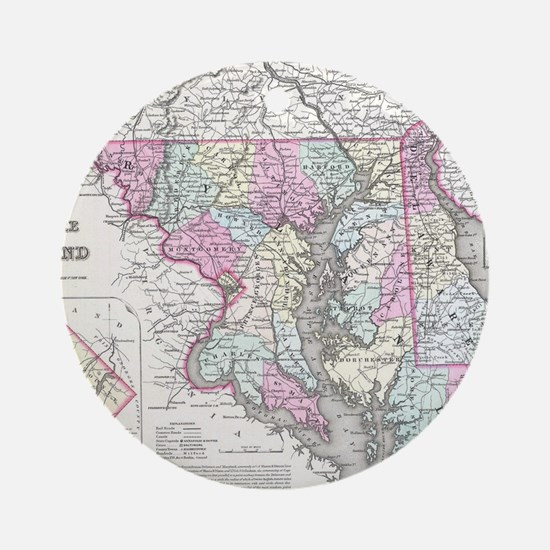 Vintage Map of Maryland (1855) Round Ornament