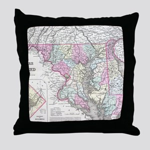 Vintage Map of Maryland (1855) Throw Pillow