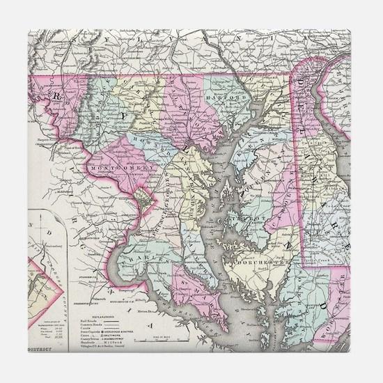 Vintage Map of Maryland (1855) Tile Coaster