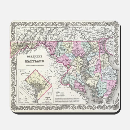 Vintage Map of Maryland (1855) Mousepad