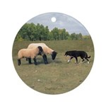 Sheepdog meets Sheep Ornament (Round)