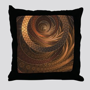 Brown, Bronze, Wicker, and Rattan Fra Throw Pillow