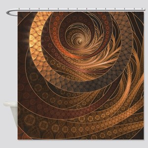 Brown, Bronze, Wicker, and Rattan F Shower Curtain