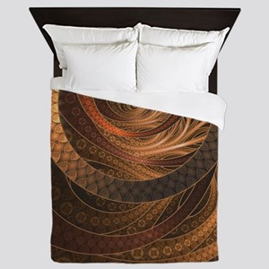 Brown, Bronze, Wicker, and Rattan Frac Queen Duvet