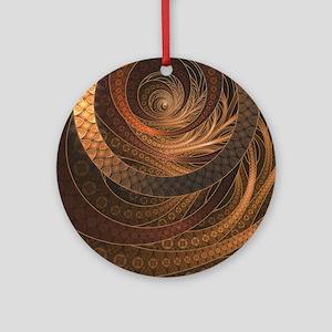 Brown, Bronze, Wicker, and Rattan F Round Ornament