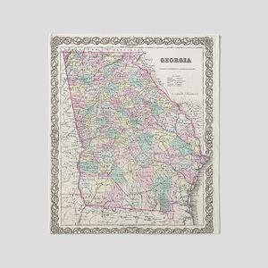 Vintage Map of Georgia (1855) Throw Blanket