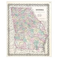 Vintage Map of Georgia (1855) Framed Print