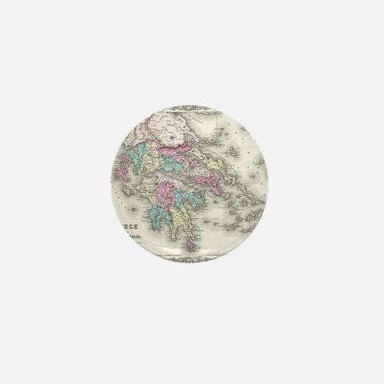 Vintage Map of Greece (1855) Mini Button