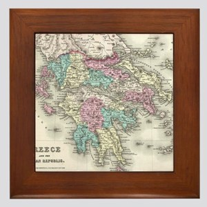 Vintage Map of Greece (1855) Framed Tile