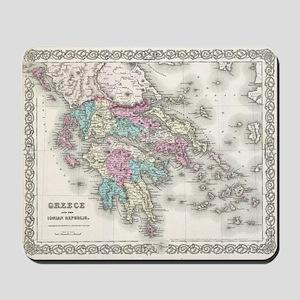 Vintage Map of Greece (1855) Mousepad