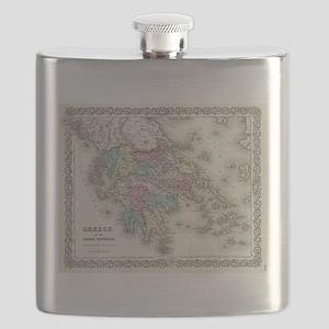Vintage Map of Greece (1855) Flask