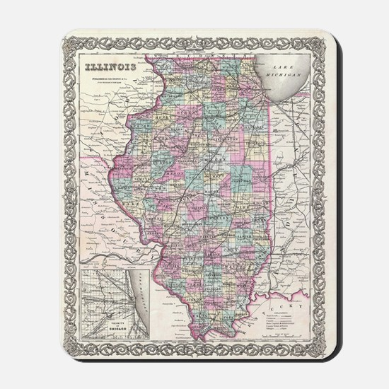 Vintage Map of Illinois (1855) Mousepad