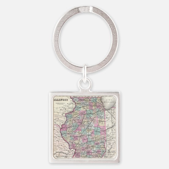 Vintage Map of Illinois (1855) Square Keychain