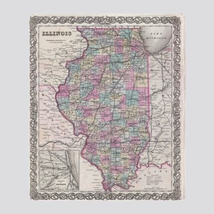 Vintage Map of Illinois (1855) Throw Blanket