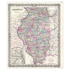 Vintage Map of Illinois (1855) Poster