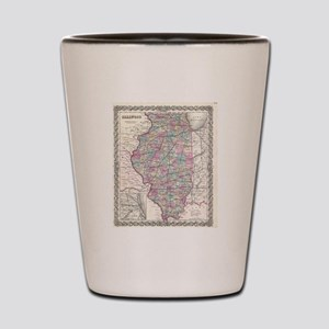 Vintage Map of Illinois (1855) Shot Glass